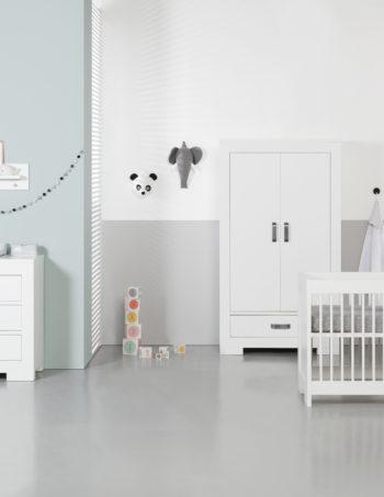 Kidsmill Brent Babykamer Wit | Bed 60 x 120 cm + Commode + Kast 2-Deurs