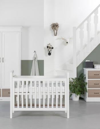Kidsmill La Première Babykamer Grijs Eiken | Bed 70 x 140 cm + Commode + Kast 1-Deurs