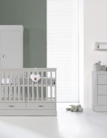 Kidsmill Newport Babykamer Grijs | Bed 70 x 140 cm + Commode + Kast 2-Deurs