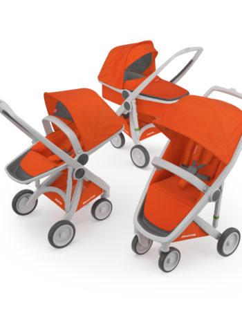 Greentom 3-in-1 Buggy Grey - Orange