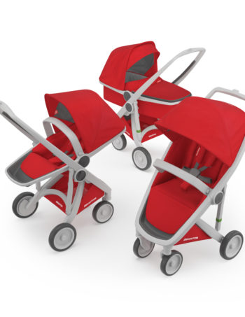 Greentom 3-in-1 Buggy Grey - Red