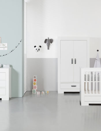 Kidsmill Brent Babykamer Wit | Bed Incl. Lade 60 x 120 cm + Commode + Kast 2-Deurs