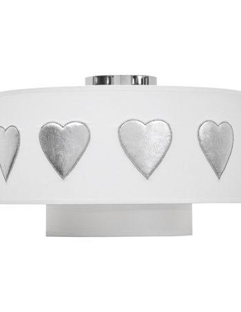 Taftan Plafondlamp Hartjes Zilver Wit