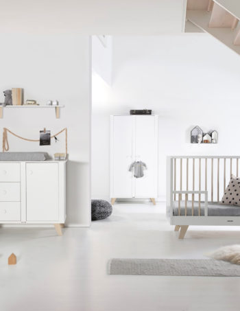 Kidsmill Lars Babykamer Wit / Naturel | Bed 60 x 120 cm + Commode + Kast