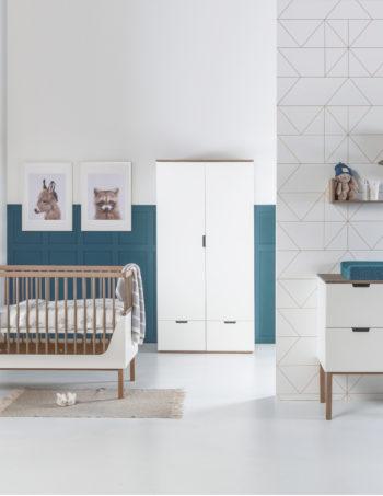 Kidsmill Sepp Babykamer Wit / Beuken | Bed 60 x 120 cm + Commode + Kast 3-Deurs