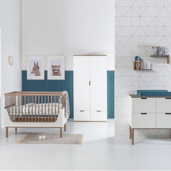 Kidsmill Sepp Babykamer Wit / Beuken   Bed 70 x 140 cm + Commode + Kast 3-Deurs