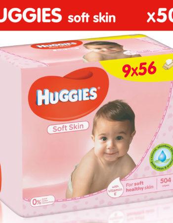 Huggies Soft Skin Billendoekjes - 9 x 56 - 504 Babydoekjes