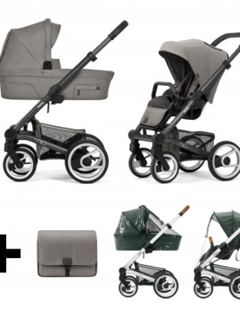 Mutsy Kinderwagen Nio North Stormy Weather - Dark Grey Frame + Verzorgingstas en Regenhoezen