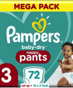 Pampers Baby Dry Pants - Maat 3 - Mega Pack - 18 x 4 = 72 luierbroekjes